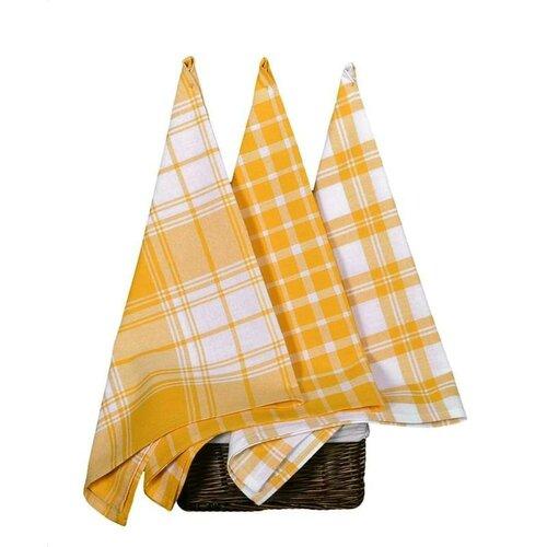 Forbyt Kuchyňská utěrka Káro žlutá, 45 x 70 cm, sada 3 ks
