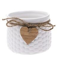 Ceramiczna osłonka na doniczkę Heart, biały, 11 x 8,8 x 8 cm