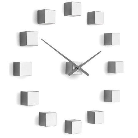 Future Time FT3000SI Cubic silver Designové samolepicí hodiny, pr. 50 cm