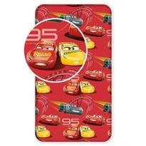 Cars red 02 gyermek pamut lepedő, 90 x 200 cm