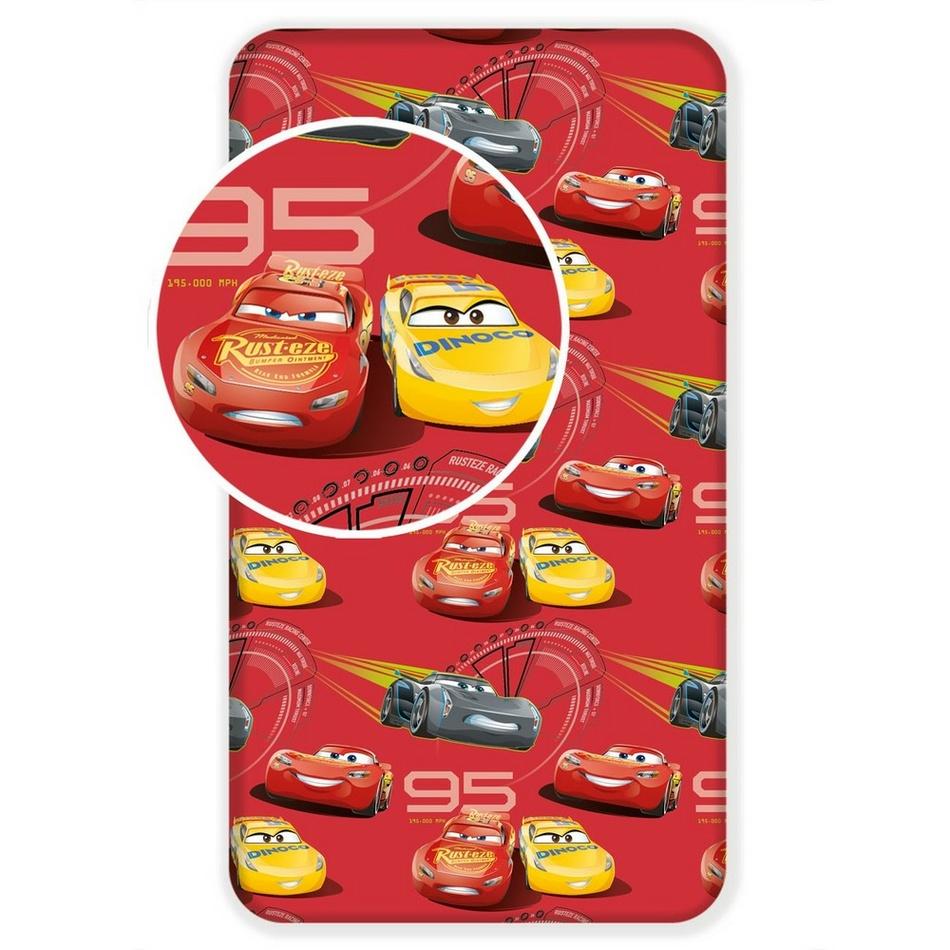 Jerry Fabrics Detské bavlnené prestieradlo Cars red 02, 90 x 200 cm