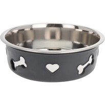 Miska pro psa Heart and bone šedá, pr. 21 cm
