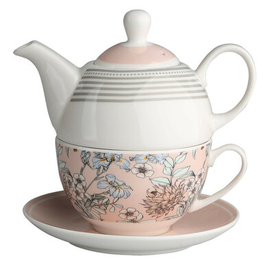 Altom Porcelánová konvička se šálkem Pink Flowers