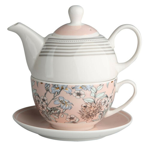 Altom Porcelánová kanvička so šálkou Pink Flowers