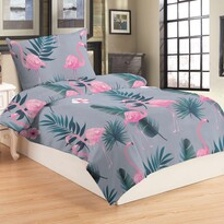 Lenjerie de pat din micro-pluș Flamingo grey, 140 x 200 cm, 70 x 90 cm