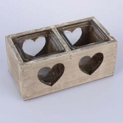 Dřevěný dvojitý svícen se sklem srdce