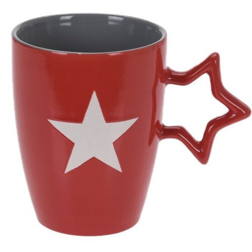 Keramický hrnek Star 330 ml, červená