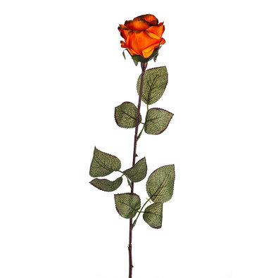 Umělá květina Růže velkokvětá 72 cm, tm. oranžová
