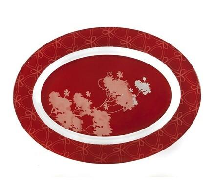 Mělký talíř Valentyne, 2 ks, bílá + červená, červená