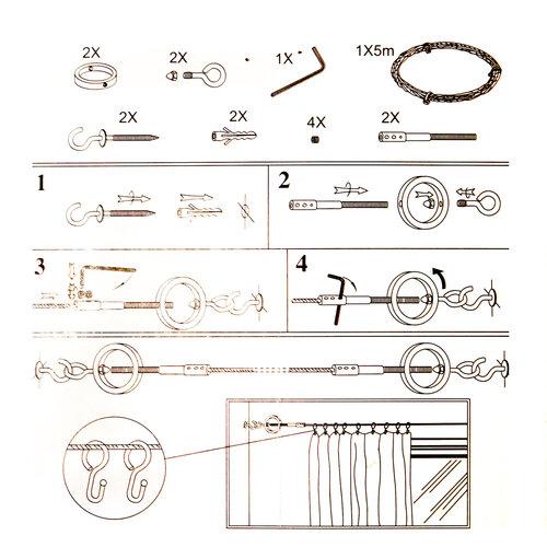 Napínacia lanková súprava Ring chróm, 5 m