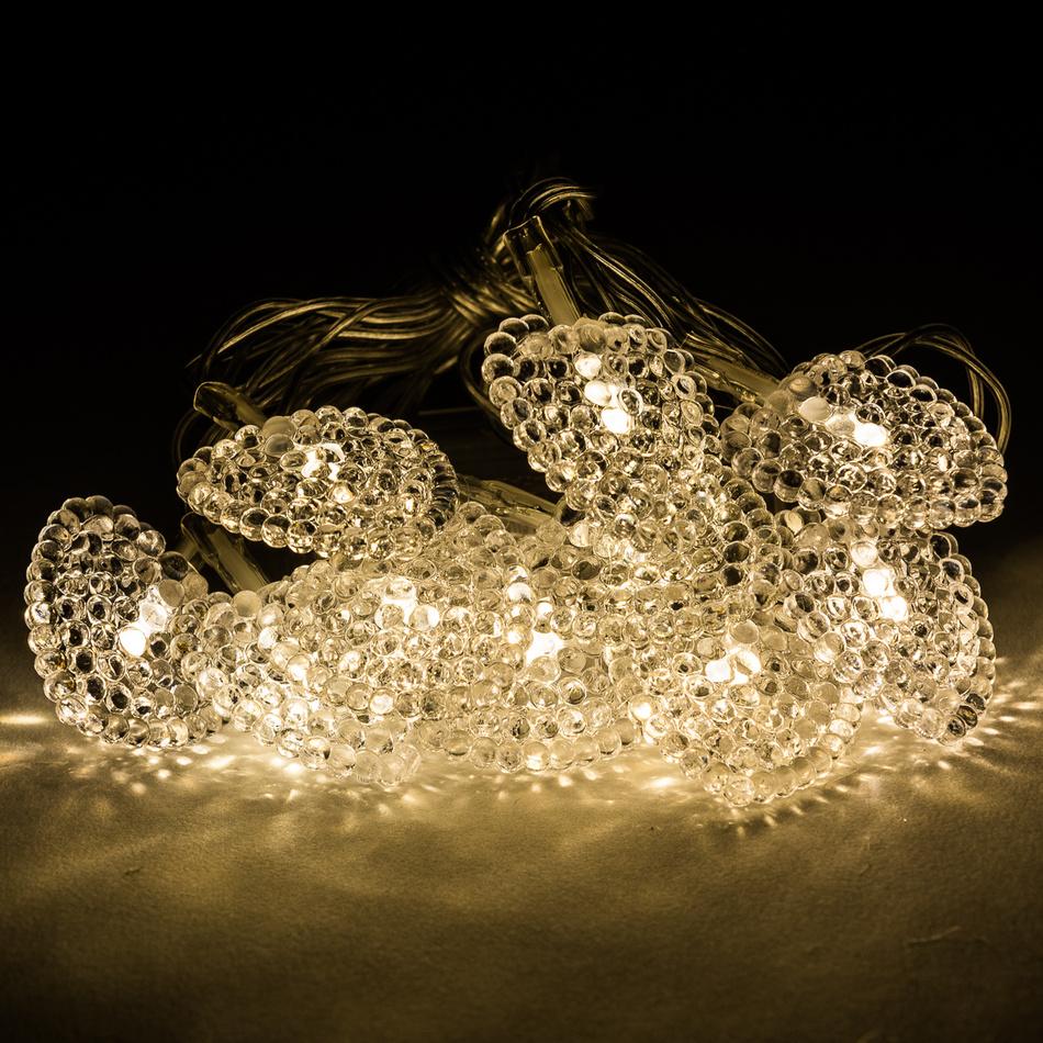Světelný řetěz s ozdobnými srdíčky, 10 LED