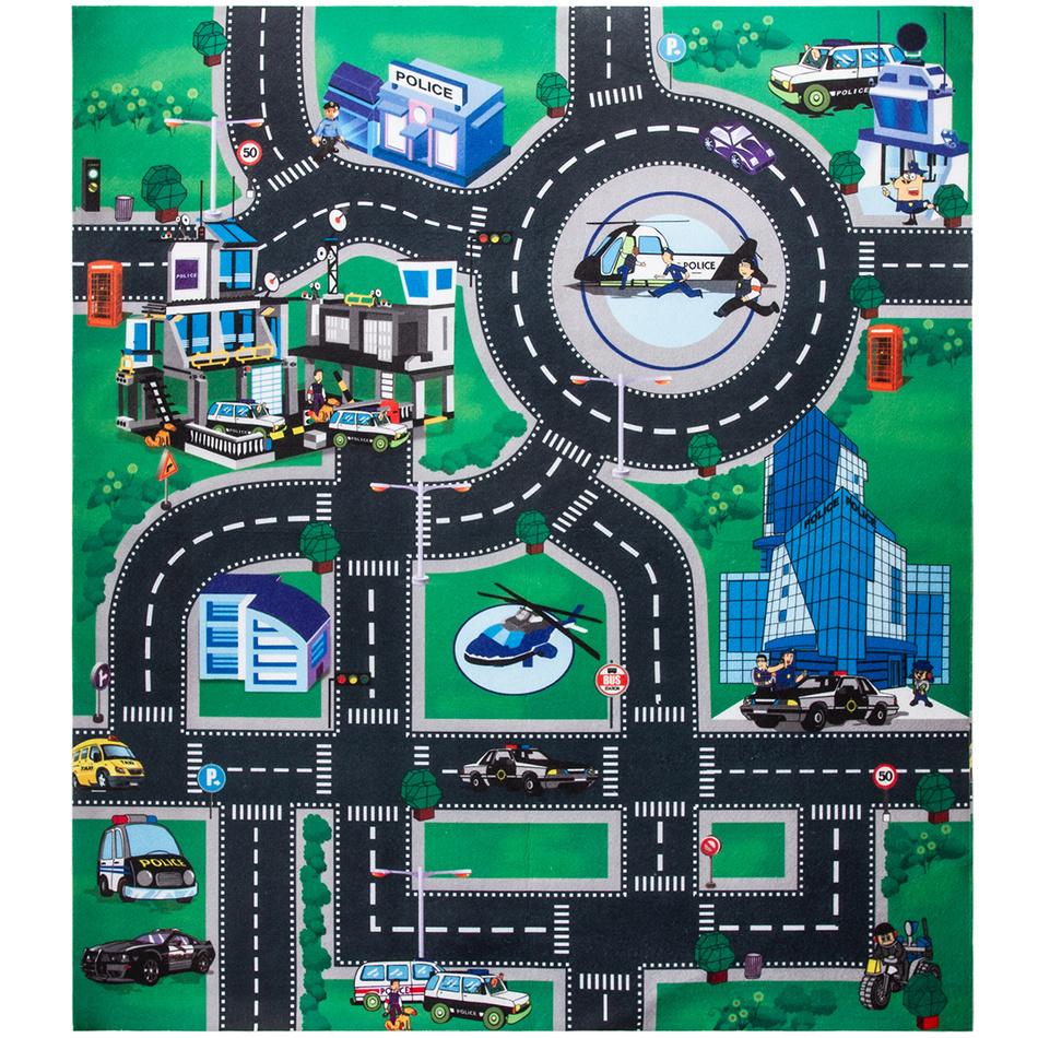 Koopman Dětská hrací podložka s autíčky Police city, 70 x 80 cm