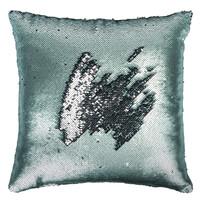 Poduszka z cekinami niebieski, 45 x 45 cm