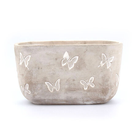 Betonový obal na květináč Motýli, 21,5 cm