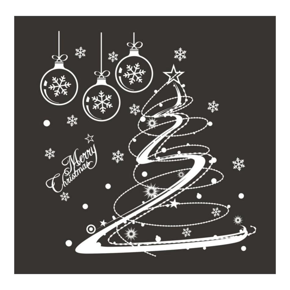 Samolepicí dekorace Vánoční stromeček, bílá