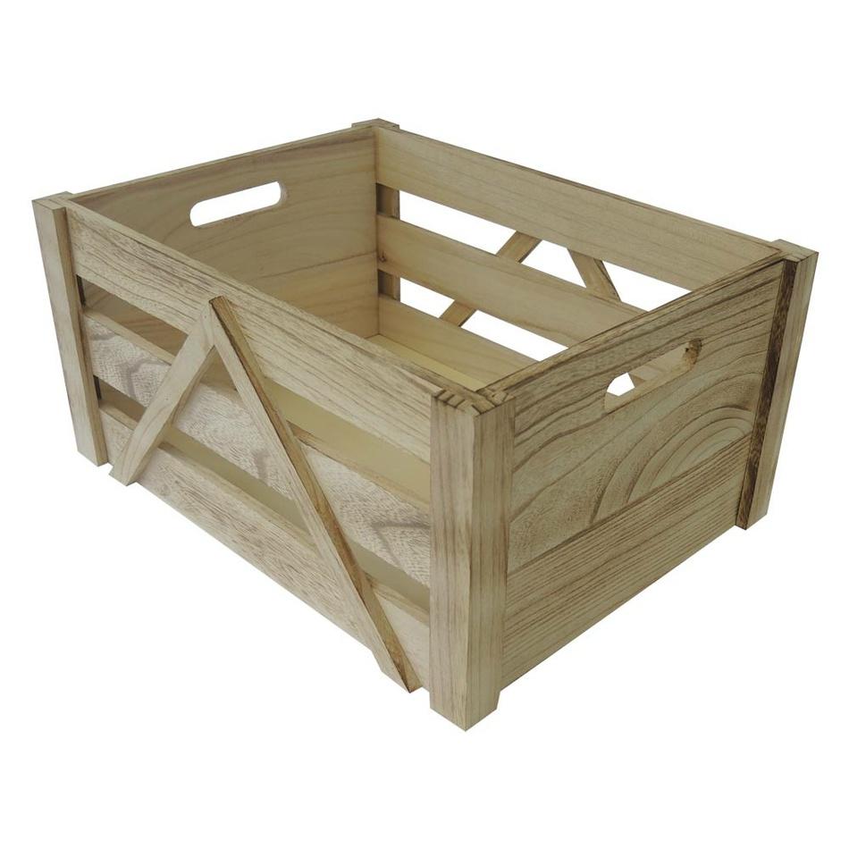 Dřevěná úložná krabice L, 36 x 18 x 26 cm