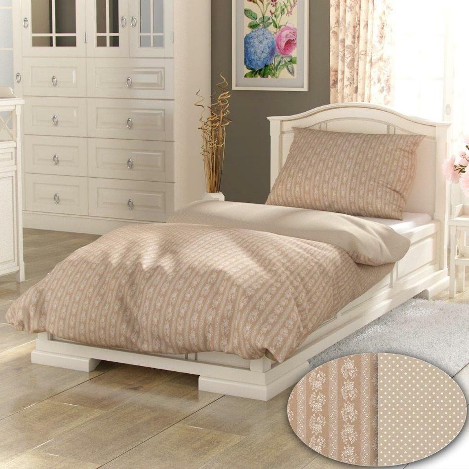 Kvalitex bavlna povlečení Provence Collection Eleonora béžová 140x220 70x90