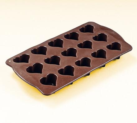 Silikonová forma čokoládová srdíčka, hnědá