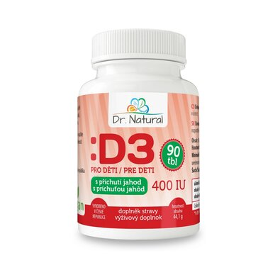 Dr.Natural Vitamín D3 pre deti 400 mg, 90 tbl., Jahoda