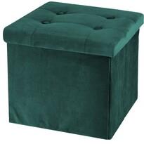 Koopman Puf do siedzenia ze schowkiem Smooth Velvet, zielony