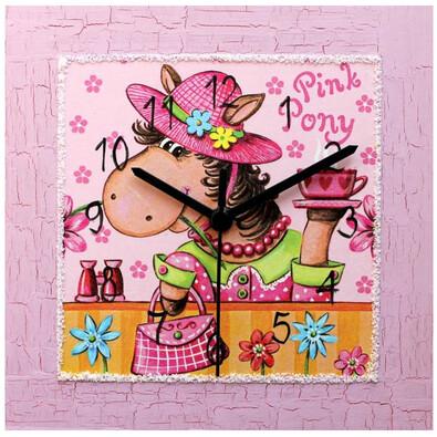 Nástěnné hodiny Pink Pony