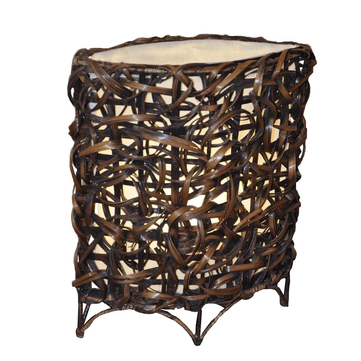 Stolná lampa bambusová oválná,
