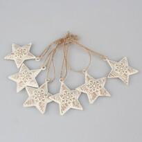 Sada vánočních kovových ozdob Hvězdy, 6 ks