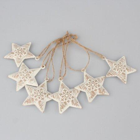 Sada vianočných kovových ozdôb Hviezdy, 6 ks