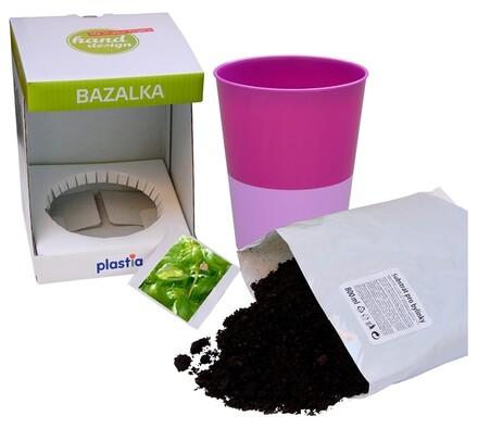 Samozavlažovací květináč Rosmarin, bylinka bazalka, fialová