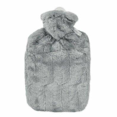 Hugo Frosch Termofor Classic s obalem z umělé kožešiny, šedá