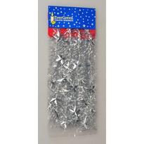 Vánoční řetěz s hvězdami stříbrná, 180 cm