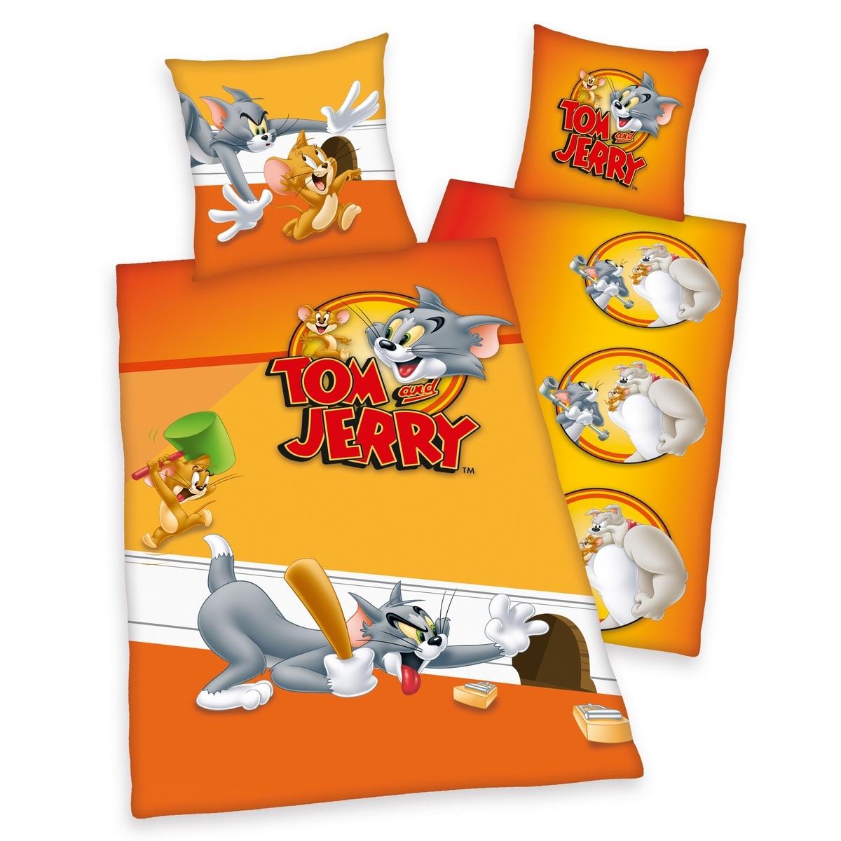 Herding Dětské bavlněné povlečení Tom a Jerry, 135 x 200 cm, 80 x 80 cm