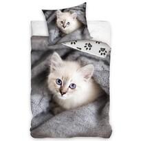Lenjerie de pat din bumbac pentru copii Pisicuță în culcuș, 140 x 200 cm, 70 x 90 cm
