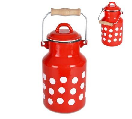 Konvička na mléko 2l červená s puntíky