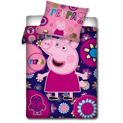 Dětské povlečení Peppa Pig - Pepina s výšivkou, 140 x 200 cm, 70 x 80 cm