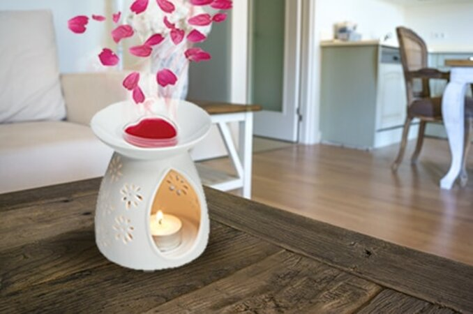 Petali Zestaw kominka aromatycznego, 3 wosków zapachowych i 25 świeczek do podgrzewaczy