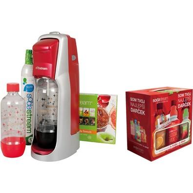 Výrobník sody JET RED Sodastream + DÁREK sirupy 6v, červená