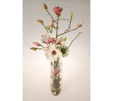 Aranžmá v skleněné váze magnolia, vícebarevná