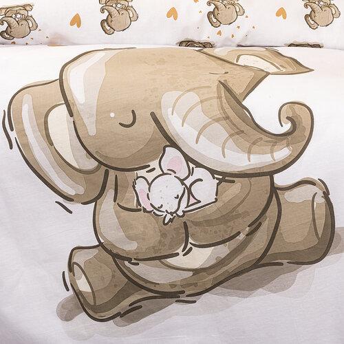 4Home Dětské bavlněné povlečení do postýlky Sloníci, 100 x 135 cm, 40 x 60 cm