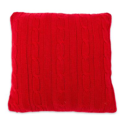 Povlak na polštářek pletený Duo červená, 45 x 45 cm