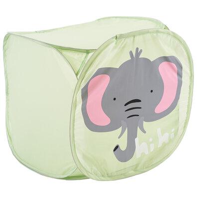 Textilní úložný box Hatu, slon, 45 x 45 x 45 cm, zelená