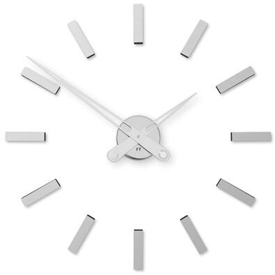 Future Time FT9600SI Modular chrome Designové samolepicí hodiny, pr. 60 cm