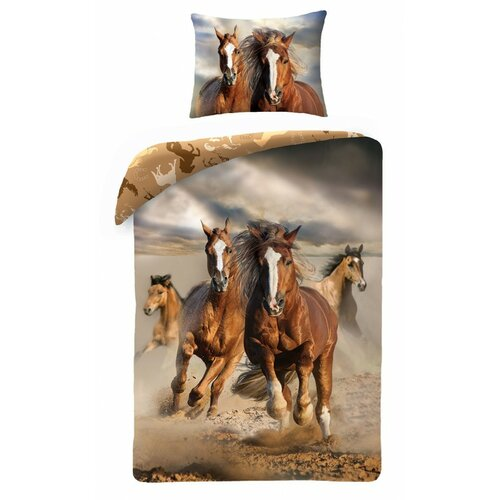 Halantex Dětské bavlněné povlečení Koně, 140 x 200 cm, 70 x 90 cm