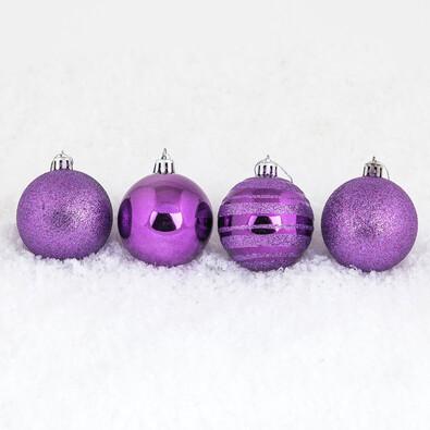 Vánoční koule 7 ks, fialová