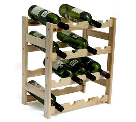 Regál na víno, 16 lahví, přírodní