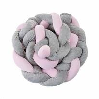 Belisima Ochraniacz do łóżeczka Warkocz, szaro-różowy