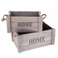 Set lădițe decorative Home, din lemn, 2 buc., gri