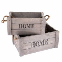 Zestaw dekoracyjnych skrzynek drewnianych Home 2 szt., szary