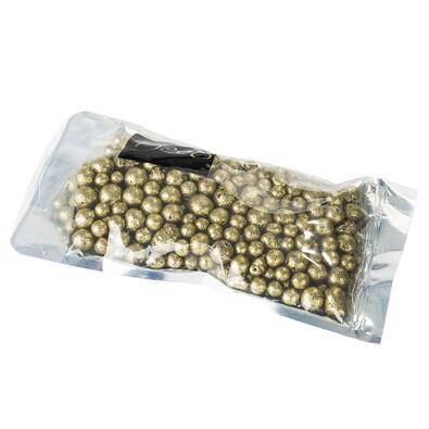 Dekorační perly 8-16 mm zlaté s glitry