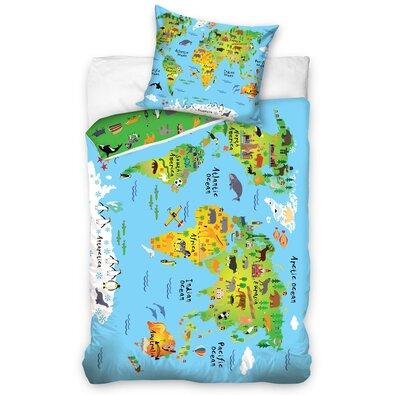 Lenjerie de pat Harta Lumii, pentru copii, din bumbac, 140 x 200 cm, 70 x 90 cm
